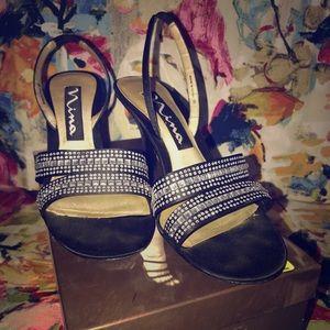 Size 7 1/2 Nina Rhinestone Slingbacks